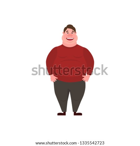 Vector illustration of a fat man.  Glutton Thick man. Concept Health problems of fast food.