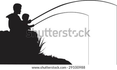 Vector illustration of a father and son fishing - stock vector