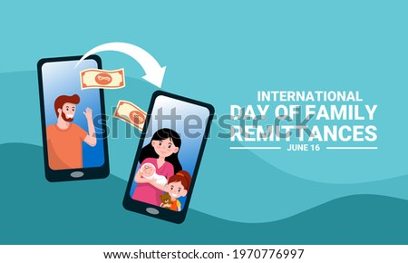 Vector illustration of a father transferring money using the m-banking application on a smartphone, as a banner or poster, The International Day of Family Remittances (IDFR).
