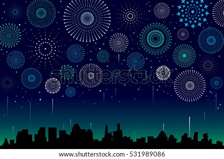 Vector illustration of a festive fireworks display over the city at night scene for holiday and celebration background design. stock photo