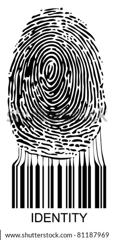 Vector illustration of a fingerprint connected to a bar code