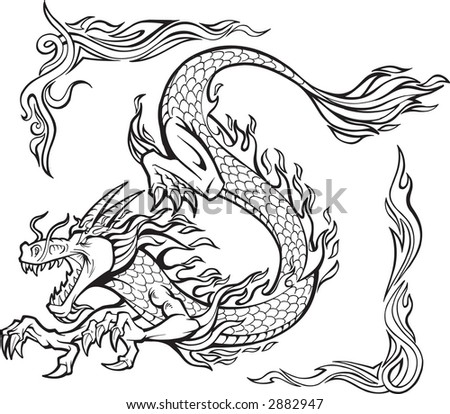 stock vector : Vector Illustration of a Fire Dragon with Tribal Borders