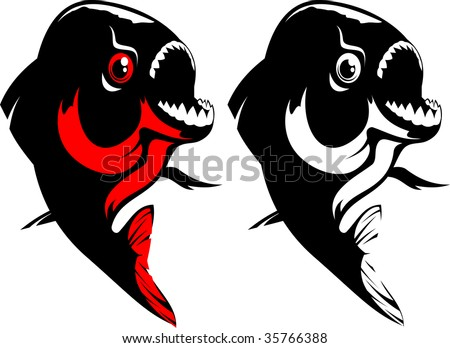 Vector illustration of a fish. Red, black and white