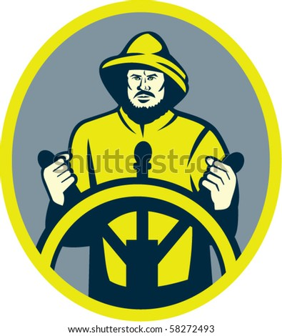 vector illustration of a Fisherman ship captain at the wheel or helm