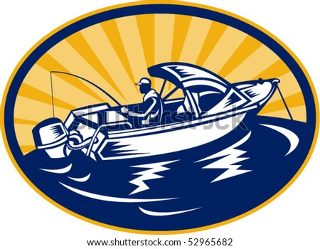 vector illustration of a fisherman with fishing rod on boat set inside an ellipse