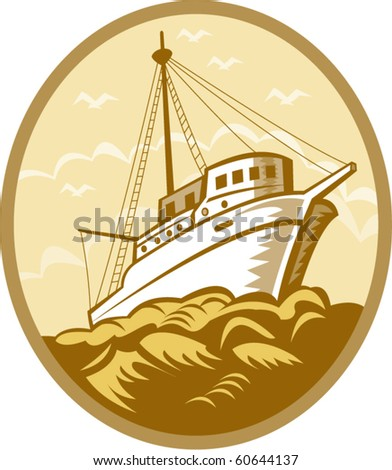 vector illustration of a Fishing boat viewed from low angle set inside an oval done in retro style.