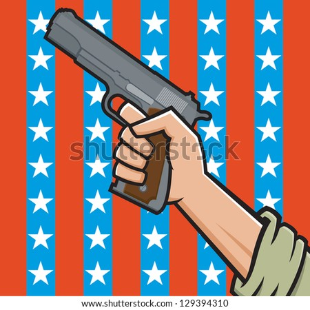 Vector Illustration of a fist holding a pistol in front of American stars and stripes.