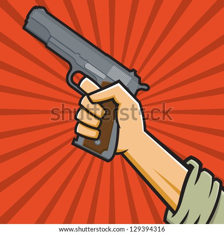 Vector Illustration of a fist holding a pistol in the style of Russian Constructivist propaganda posters.