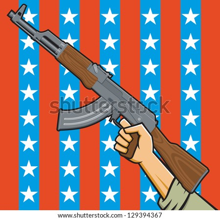 Vector Illustration of a fist holding an assault rifle in front of American stars and stripes.