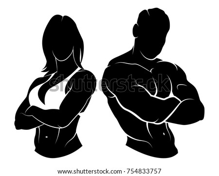Vector illustration of a fitness logo with male and female torso