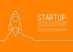 Vector illustration of a flat design of a startup rocket.