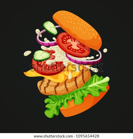 Vector illustration of a flying chicken burger separated into layers: sesame topped bun, fresh cucumbers, red onions, tomatoes, white mayonnaise sauce, cheese, lettuce and grilled chicken patty.
