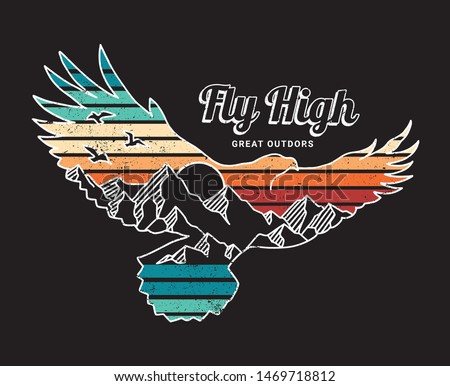 Vector illustration of a flying eagle with a mountains landscape. For t-shirt prints, posters an other uses.