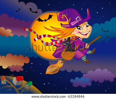 Vector illustration of a flying witch on Halloween eve