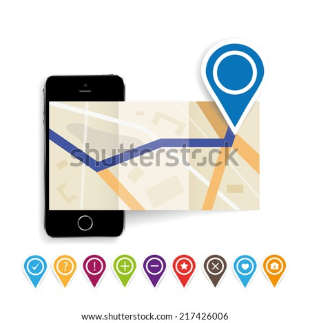 vector illustration of a folding card and phone with navigation