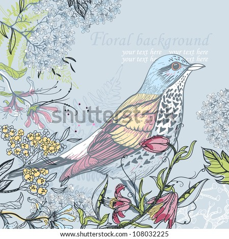 vector  illustration of a forest bird and blooming flowers