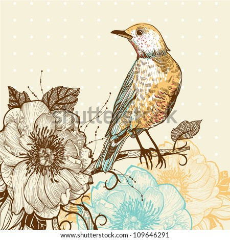 vector illustration of a forest bird and wild roses