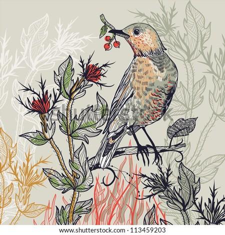 vector  illustration of a forest bird with wild plants