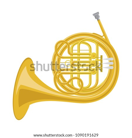 Vector illustration of a french horn in cartoon style isolated on white background