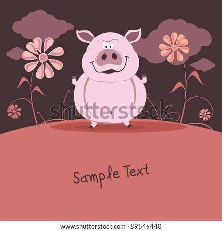 Vector illustration of a friendly cute cartoon pig