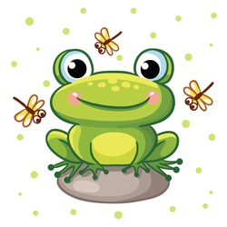 Vector illustration of a frog on a rock and crystals on a background of green peas. Cute frog sitting on a rock and smiling.