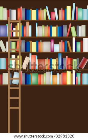 Vector illustration of a full library shelf