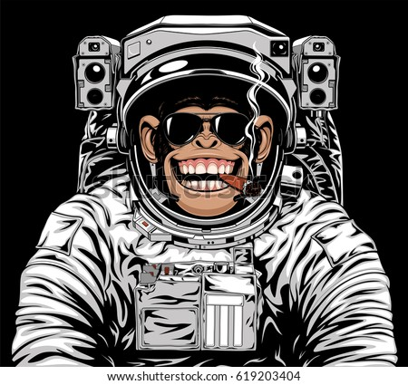 Vector illustration of a funny chimpanzee in an astronaut's suit, smoking a cigar