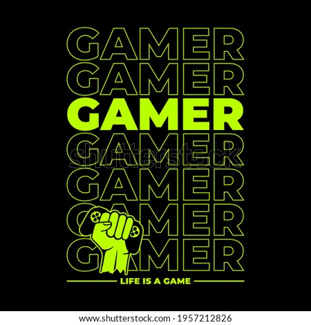 Vector illustration of a game pad with hand sign.Logo for teen gamer with joystick for print and web. Image of a game console for lovers of video and computer games