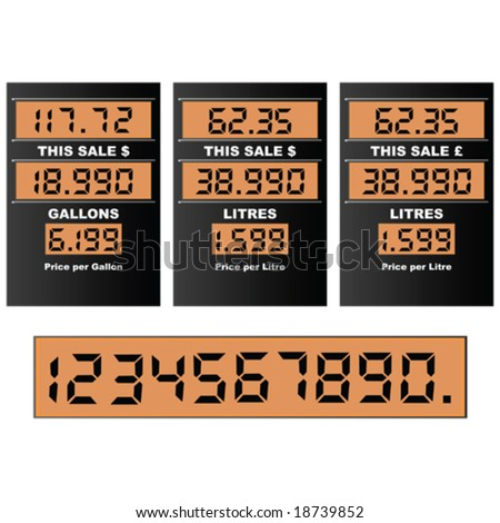 Vector illustration of a gas pump display, with separate numbers for changing prices. Information in gallons and litres, dollars and pounds