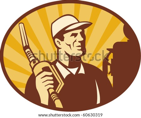 gas pump nozzle vector. stock vector : vector illustration of a Gasoline attendant looking holding petrol pump nozzle set inside