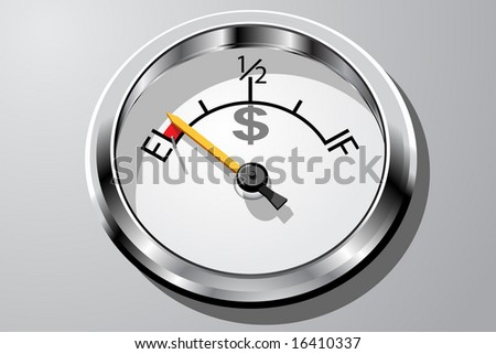 Vector illustration of a gauge representing money running out