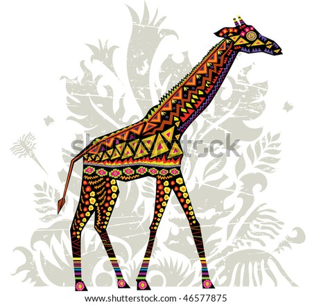 vector illustration of a giraffe with african patterns