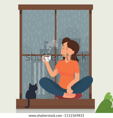 vector illustration of a girl drink tea/coffee near a window while rain outside. A girl drink/enjoy tea with her cat. girl sitting on a window drink tea/coffee