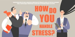 Vector illustration of a girl in a conflict and stressful situation at work. Symbolic image