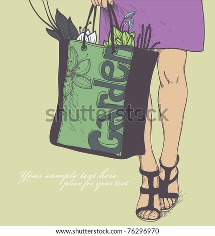 vector illustration of a girl in a violet skirt holding the bag with flowers and seedling
