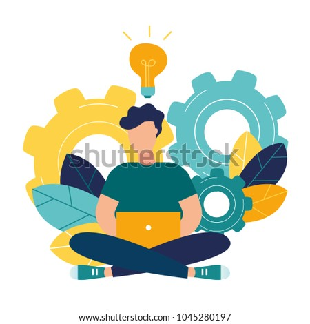 vector illustration of a girl online assistant at work. promotion in the network. manager at a remote job
