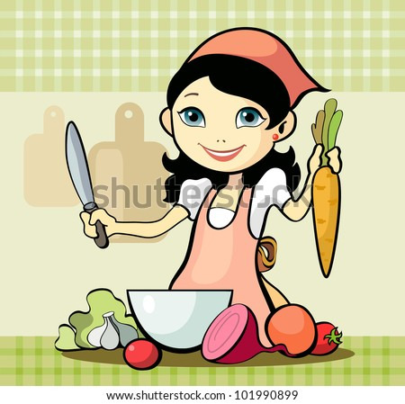Stock Photo Vector illustration of a girl prepares a meal