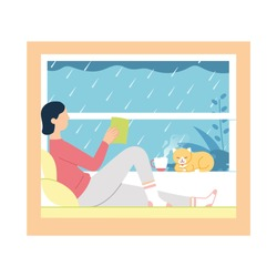 vector illustration of a girl read a book and drink tea/coffee near a window while rain outside. girl sitting near window with cat