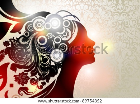 Vector illustration of a girl`s profile and here stylized floral hair