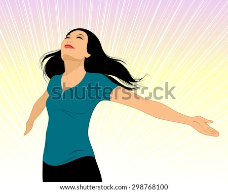 Vector illustration of a girl spread her arms