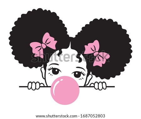 Vector illustration of a girl with afro puff hair blowing pink bubble gum. Stockfoto ©