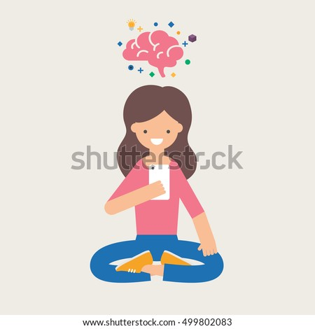 Vector illustration of a girl with smartphone using brain training app