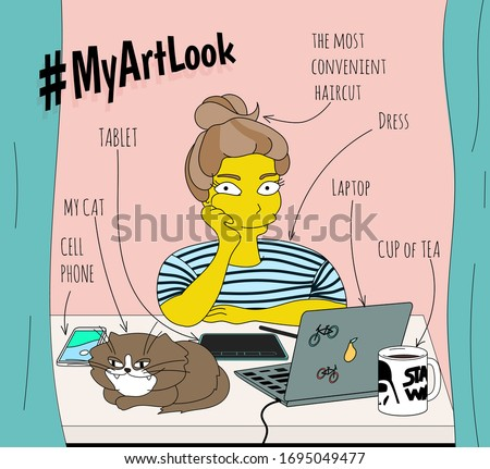 Vector illustration of a girl working from home during isolation with a laptop, cell phone, cat, cup of tea, table. Simpsons style, home office and freelance, freelancer