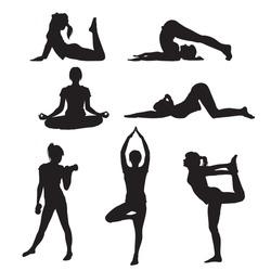 Vector illustration of a girl yoga silhouette