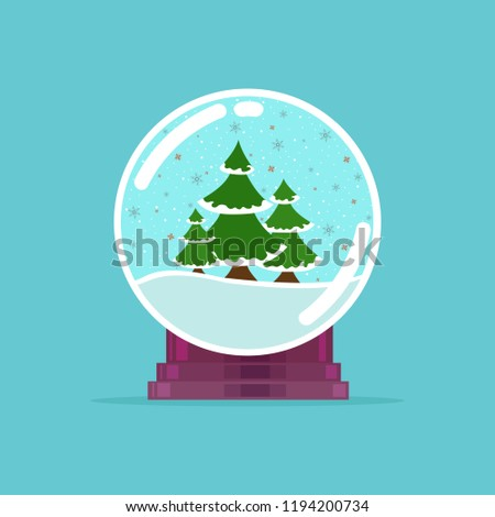Vector illustration of a glass ball with a snowy Christmas tree.