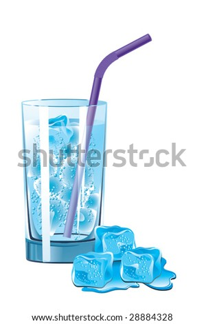 Vector illustration of a glass of mineral water and melting ice
