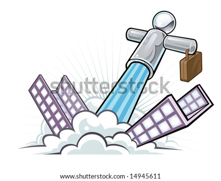 Vector illustration of a glassy businessman character shooting out of a city building like a rocket blasting off.
