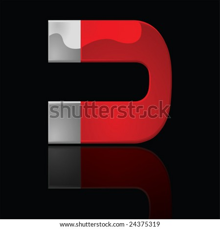 Vector illustration of a glossy horseshoe magnet over a black background