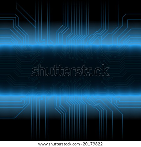 Vector illustration of a glowing circuitry board design with central ...