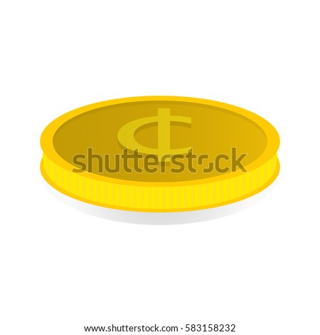 Vector Illustration Of A Gold Coin With The Symbol Of The Cent Ez